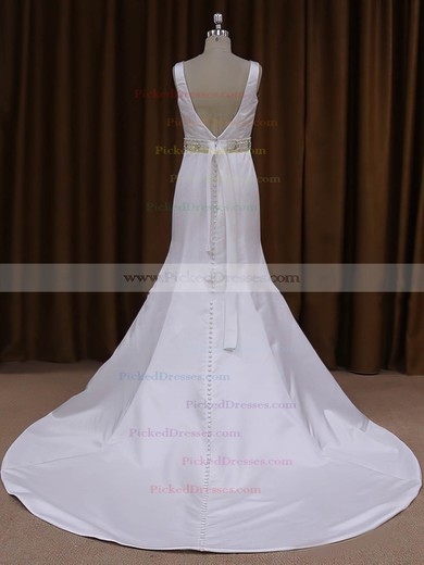 Scoop Neck White Satin Sashes/Ribbons Backless Trumpet/Mermaid Wedding Dresses #PDS00021917