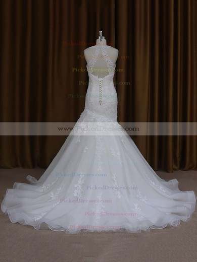 Trumpet/Mermaid Ivory Satin Tulle with Appliques Lace Sweetheart Wedding Dresses #PDS00021920