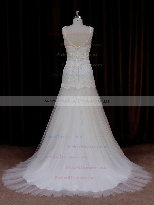 Ivory Trumpet/Mermaid Tulle Appliques Lace Sweep Train Wedding Dresses #PDS00021924