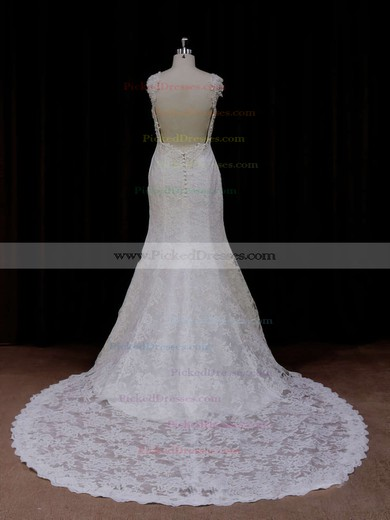 Chapel Train Ivory Lace Beading Trumpet/Mermaid Backless Wedding Dresses #PDS00021926