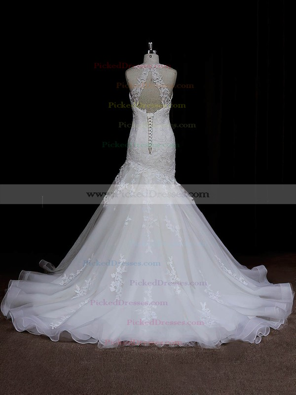 Vintage Sweetheart Ivory Satin Tulle Appliques Lace Trumpet/Mermaid Wedding Dresses #PDS00021935