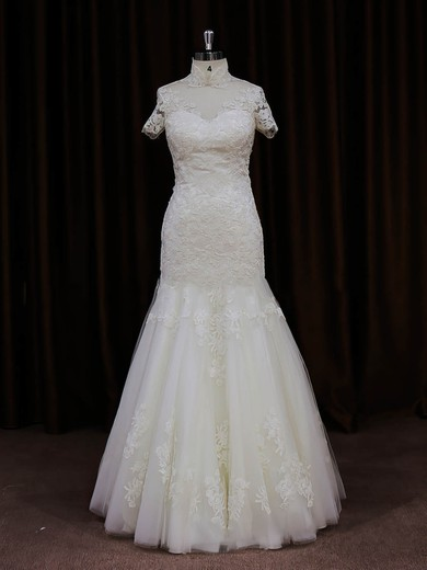 Ivory Trumpet/Mermaid Unique Tulle Appliques Lace High Neck Wedding Dresses #PDS00021939