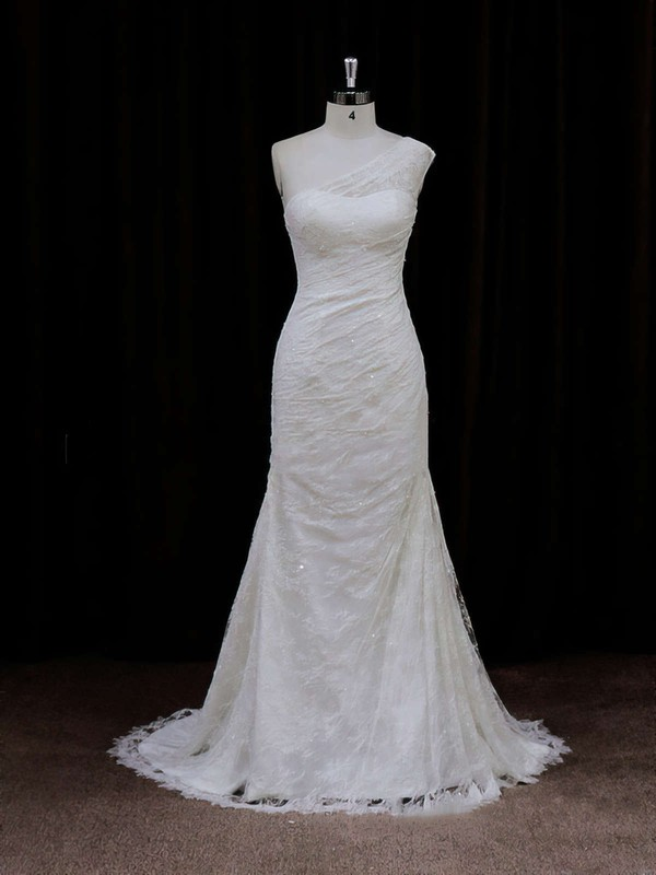 Modest Ivory One Shoulder Lace Sequins Trumpet/Mermaid Wedding Dresses #PDS00021940
