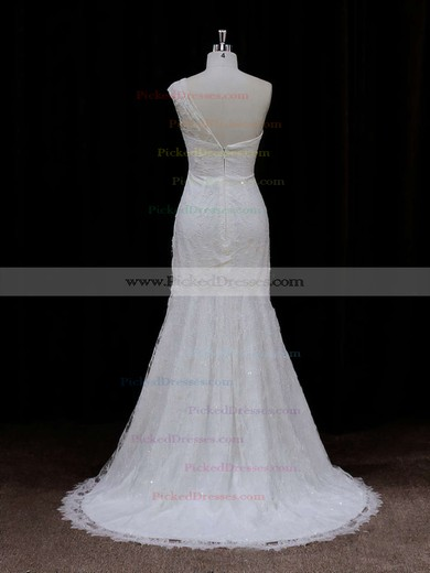 Modest Ivory One Shoulder Lace Sequins Trumpet/Mermaid Wedding Dresses #PDS00021940