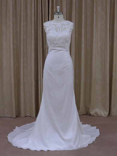 Lace Chiffon Covered Button Ivory Scoop Neck Modest Sheath/Column Wedding Dress #PDS00021942