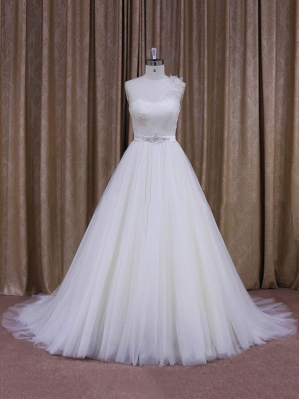 Elegant One Shoulder White Tulle Sashes/Ribbons Ball Gown Wedding Dress #PDS00021956