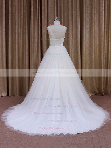 Elegant One Shoulder White Tulle Sashes/Ribbons Ball Gown Wedding Dress #PDS00021956