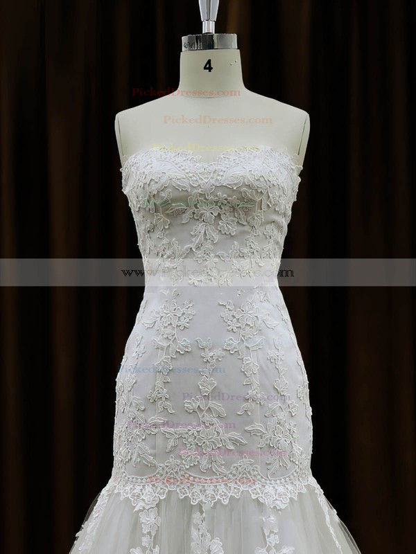 Best Ivory Tulle Appliques Lace Chapel Train Trumpet/Mermaid Wedding Dresses #PDS00021959
