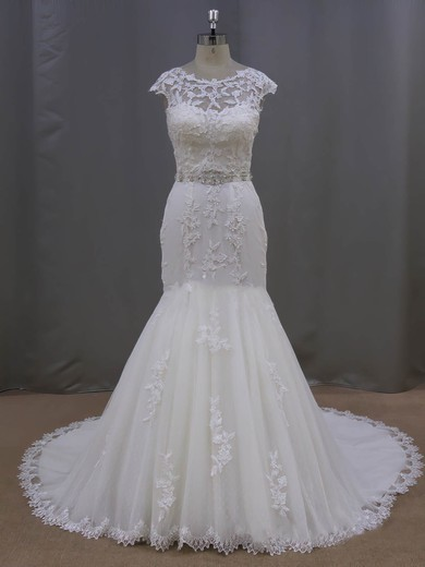 Scoop Neck Ivory Tulle with Appliques Lace Trumpet/Mermaid Cap Straps Wedding Dress #PDS00021962