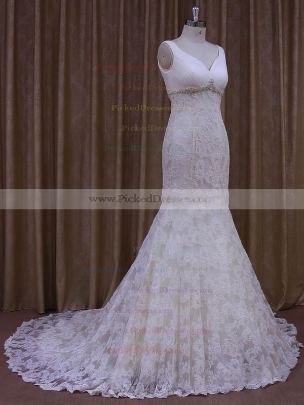 Trumpet/Mermaid V-neck Ivory Lace Tulle Appliques Lace Designer Wedding Dress #PDS00021964