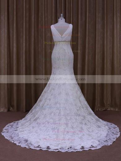 Trumpet/Mermaid V-neck Ivory Lace Tulle Appliques Lace Designer Wedding Dress #PDS00021964
