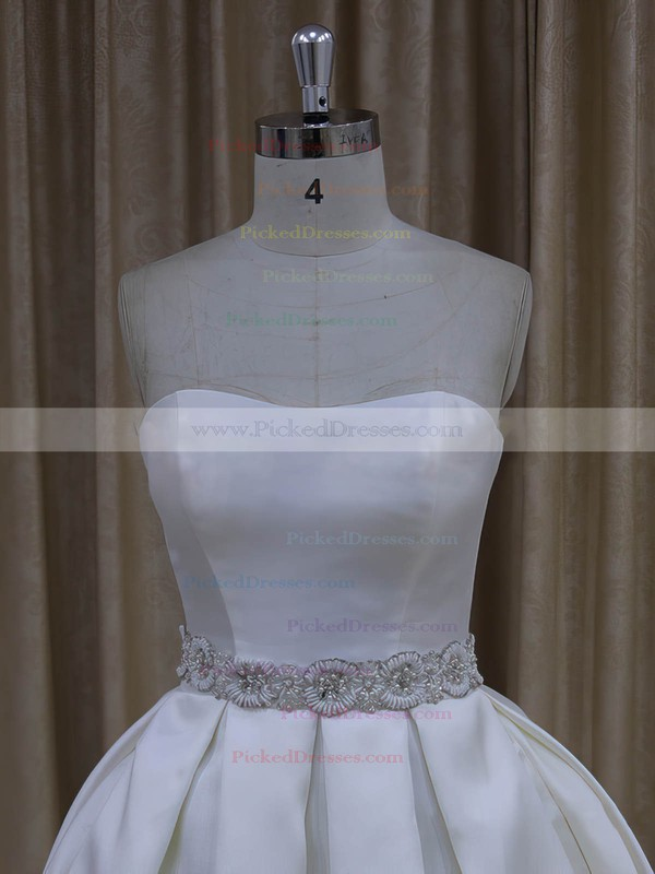 Classic Ivory Taffeta Sashes/Ribbons Sweetheart Ball Gown Wedding Dresses #PDS00021977