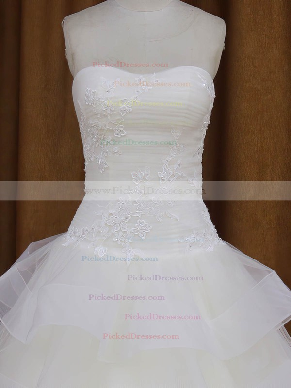 Floor-length Wholesale Tulle Appliques Lace Sweetheart White Wedding Dress #PDS00021980