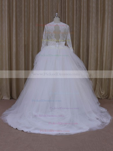 Ivory V-neck Tulle Appliques Lace Long Sleeve Ball Gown Wedding Dress #PDS00021982
