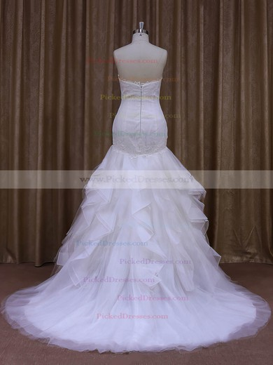White Trumpet/Mermaid Tulle Appliques Lace Sweetheart Modern Wedding Dress #PDS00021987