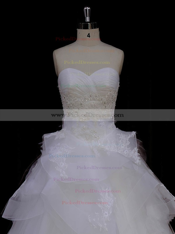 Ivory Tulle Princess Appliques Lace Sweetheart New Style Wedding Dresses #PDS00021988