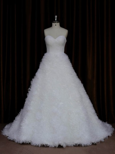 Ivory Sweetheart Ruffles Tulle Court Train New Arrival Wedding Dress #PDS00021989