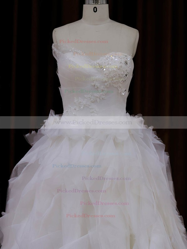 Sweetheart Tulle Appliques Lace Elegant Princess Ivory Wedding Dress #PDS00021991