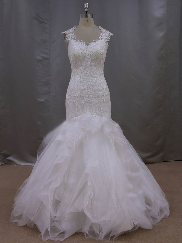 New Arrival Trumpet/Mermaid Tulle Appliques Lace Ivory Sweetheart Wedding Dress #PDS00021993