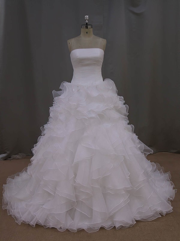 Court Train Ivory Tiered Organza New Arrival Strapless Wedding Dress #PDS00021994