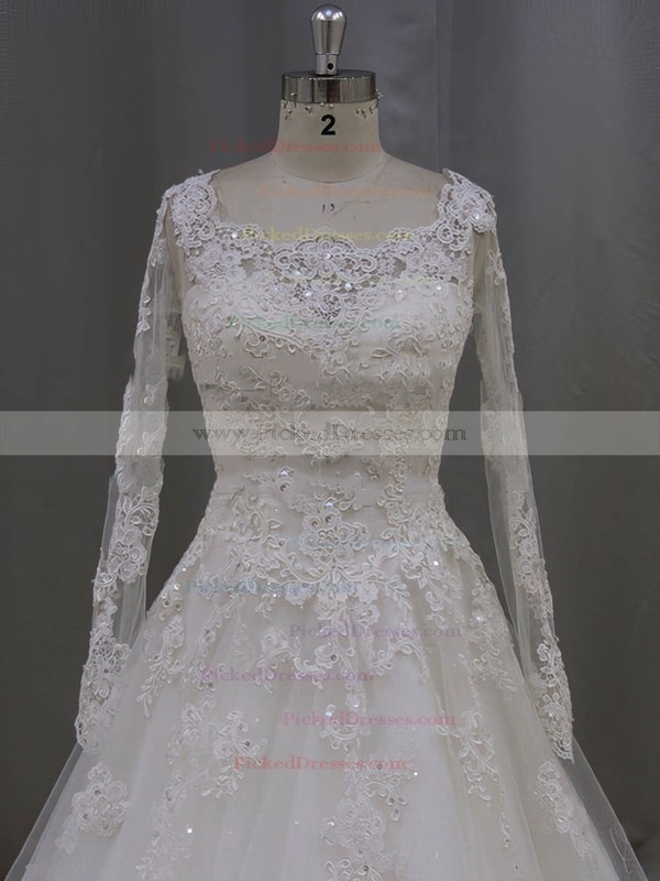 Scoop Neck Ivory Tulle Beading Long Sleeve Appliques Lace Wedding Dress #PDS00021996
