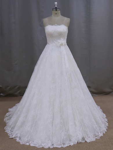Ivory Strapless Lace Sashes / Ribbons Lace-up Court Train Wedding Dresses #PDS00021997