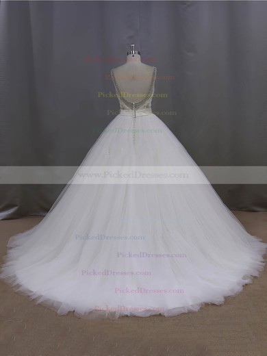 Ball Gown Ivory Tulle Sashes / Ribbons Open Back V-neck Wedding Dress #PDS00021998
