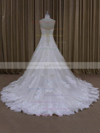 Ivory A-line Tulle Sweetheart Lace-up Appliques Lace Wedding Dress #PDS00022000