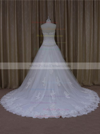 Gorgeous Sweetheart Appliques Lace Court Train White Tulle Wedding Dresses #PDS00022001