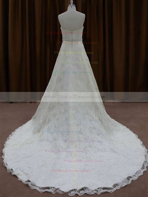 Ivory Lace Chapel Train Beading Sweetheart Classic Wedding Dress #PDS00022002