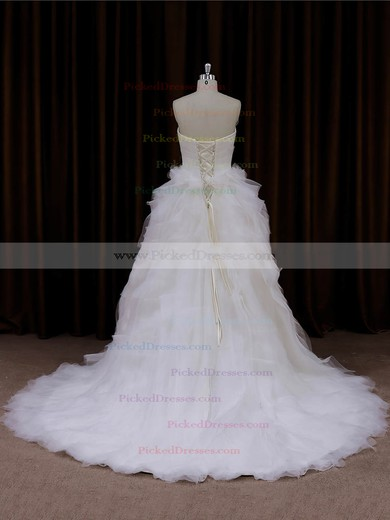 Princess Tulle Cascading Ruffles Ivory Lace-up Sweetheart Wedding Dresses #PDS00022003