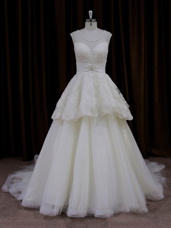 Cheap Scoop Neck Ivory Lace Tulle Beading Princess Wedding Dress #PDS00022004