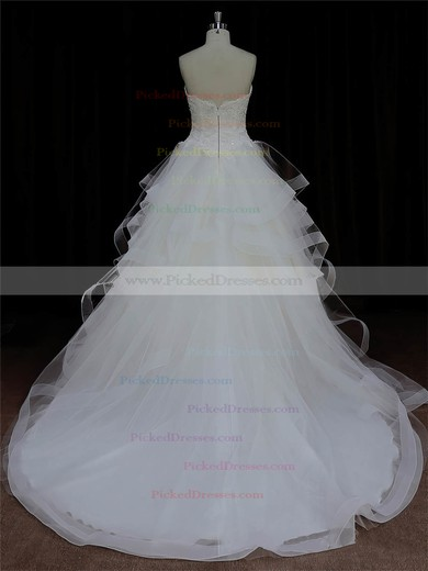 Ivory Tulle Appliques Lace Sweetheart Ball Gown Discount Wedding Dresses #PDS00022005
