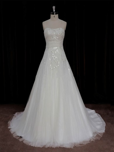 A-line Crystal Detailing Ivory Lace Tulle Court Train Beautiful Wedding Dress #PDS00022006