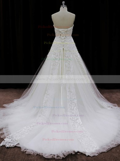 Sweetheart Lace-up Ivory Lace Tulle Appliques Lace Chapel Train Wedding Dresses #PDS00022007