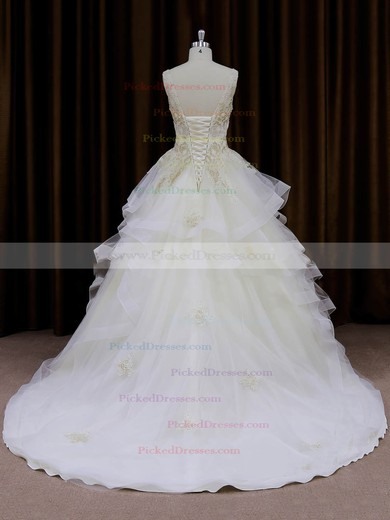 V-neck Ivory Organza Lace-up Appliques Lace Princess Wedding Dresses #PDS00022009