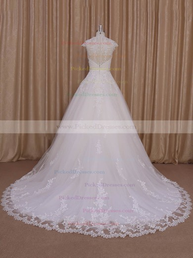 Sweetheart Ivory Tulle Cap Straps Appliques Lace Court Train Wedding Dress #PDS00022010