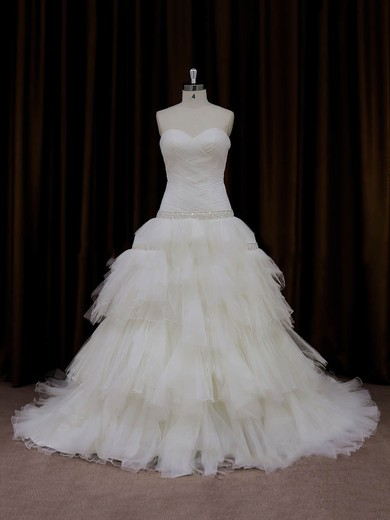Princess Tulle Tiered Lace-up Chapel Train Ivory Wedding Dresses #PDS00022011