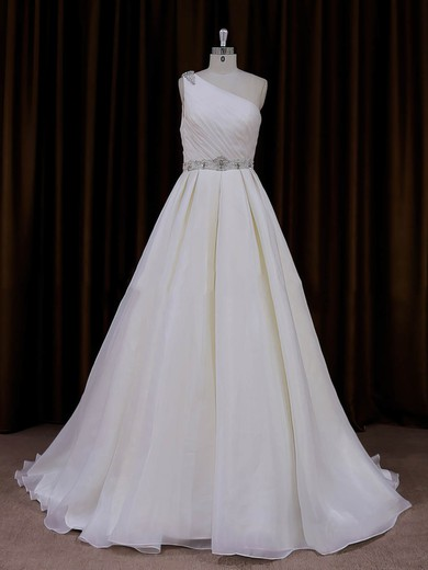 One Shoulder Beading Ivory Organza Sweep Train Fashion Wedding Dress #PDS00022012