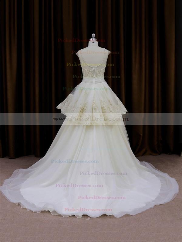 Ivory Tulle Princess Appliques Lace V-neck New Wedding Dresses #PDS00022013