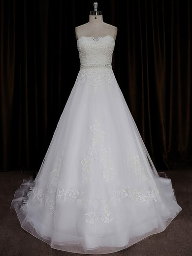 A-line Ivory Tulle Satin Appliques Lace Sweetheart Affordable Wedding Dresses #PDS00022015