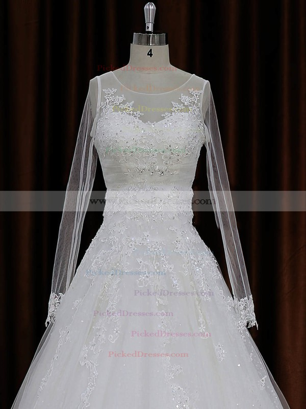 A-line Appliques Lace Ivory Tulle Long Sleeve Chapel Train Wedding Dresses #PDS00022018