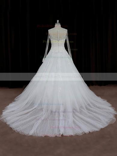 A-line Appliques Lace Ivory Tulle Long Sleeve Chapel Train Wedding Dresses #PDS00022018