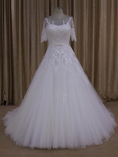 Court Train Ivory Tulle Appliques Lace 1/2 Sleeve Scoop Neck Wedding Dresses #PDS00022019