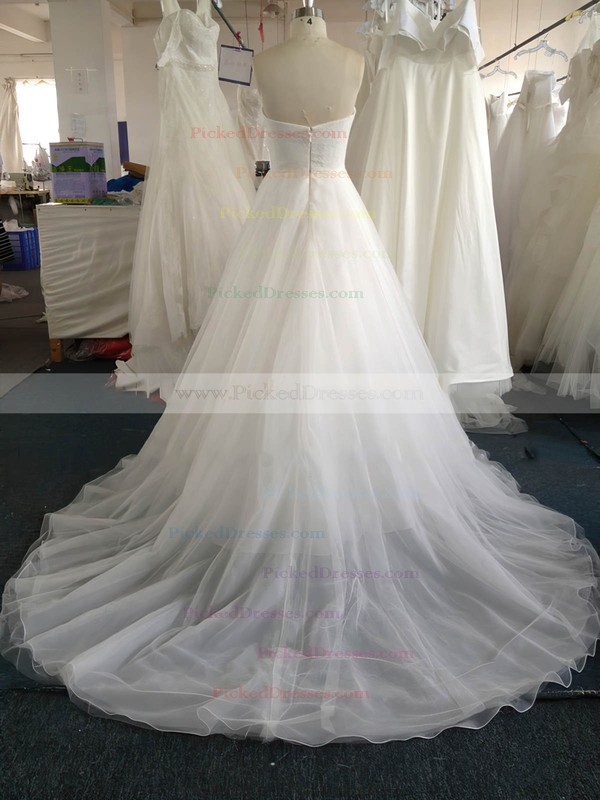 Sweetheart Pearl Detailing White Lace Tulle Court Train Wedding Dress #PDS00022020