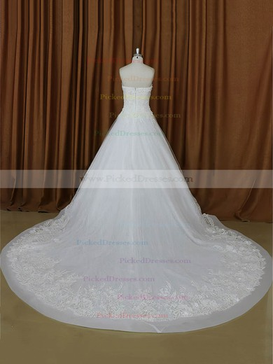 A-line Appliques Lace Ivory Tulle Sweetheart Modern Wedding Dresses #PDS00022021