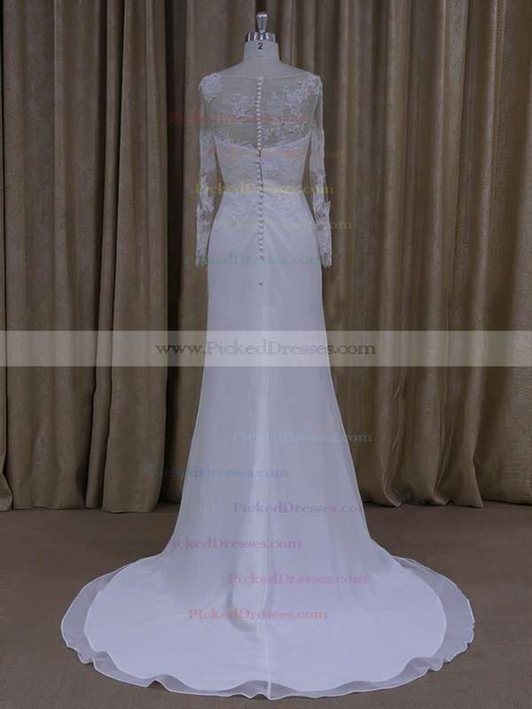 Sheath/Column White Chiffon Appliques Lace Long Sleeve Scoop Neck Wedding Dresses #PDS00022022