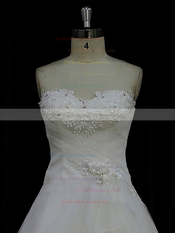 Designer Ivory Tulle Satin Appliques Lace Sweetheart Court Train Wedding Dress #PDS00022023