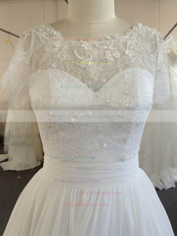 A-line Ivory Chiffon Lace Beading Short Sleeve Scoop Neck Wedding Dresses #PDS00022024