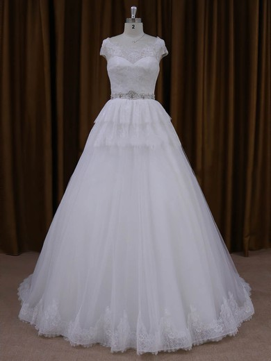 Court Train White Lace Tulle Beading Cap Straps A-line Wedding Dresses #PDS00022025